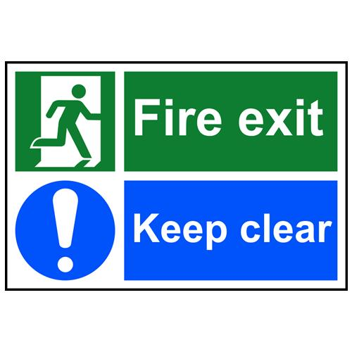 Fire Exit Running Man Arrow Left Sign Pvc